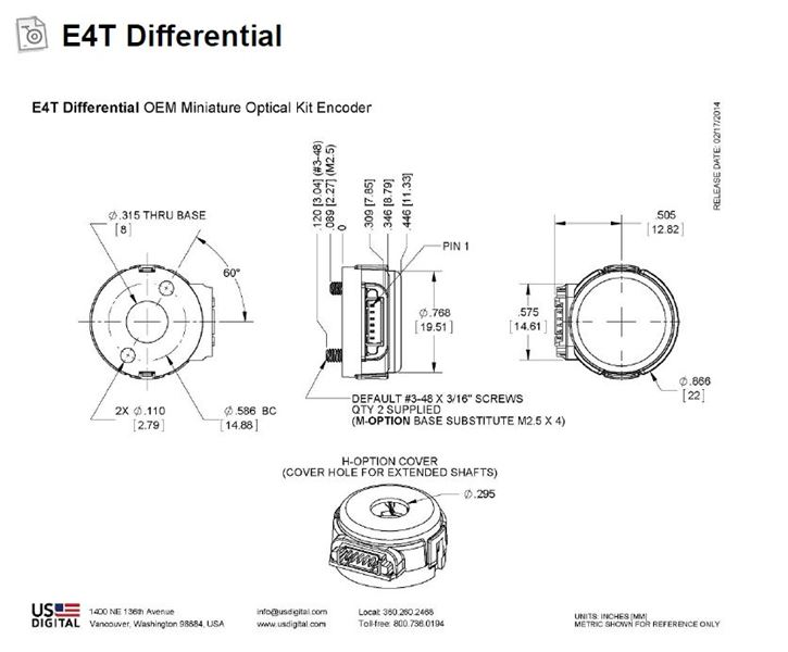 US Digital E4T Miniature Optical Kit Encoder